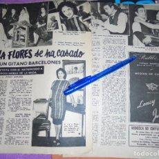 Coleccionismo de Revista Garbo: RECORTE PRENSA : LOLA FLORES SE CASA CON UN GITANO DE BARCELONA. GARBO, 1957. Lote 119360427