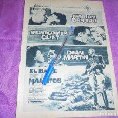 Coleccionismo de Revista Garbo: PUBLICIDAD DE LA PELICULA : EL BAILE DE LOS MALDITOS, MARLON BRANDON, DEAN MARTIN. GARBO, ENERO 1961. Lote 119426291