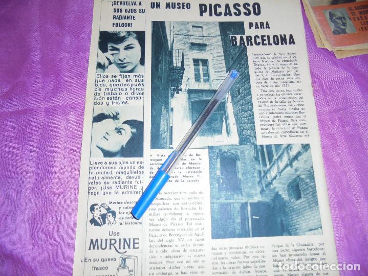 RECORTE DE PRENSA : MUSEO PICASSO PARA BARCELONA. GARBO, JUNIO 1962 (Coleccionismo - Revistas y Periódicos Modernos (a partir de 1.940) - Revista Garbo)