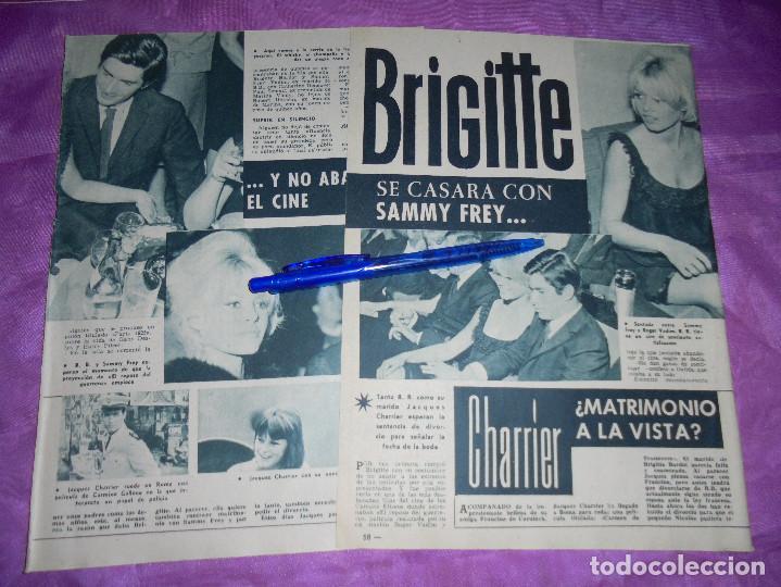 RECORTE DE PRENSA : BRIGITTE BARDOT SE CASA CON SAMMY FREY. GARBO, SEPBRE 1962 (Coleccionismo - Revistas y Periódicos Modernos (a partir de 1.940) - Revista Garbo)