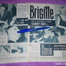 Coleccionismo de Revista Garbo: RECORTE DE PRENSA : BRIGITTE BARDOT SE CASA CON SAMMY FREY. GARBO, SEPBRE 1962. Lote 120043439