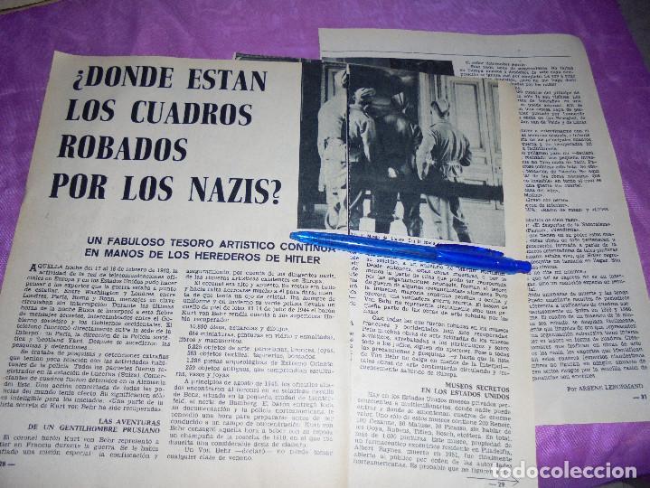 RECORTE PRENSA : ¿DONDE ESTAN LOS CUADROS ROBADOS POR LOS NAZIS? . GARBO, MAYO 1966 (Coleccionismo - Revistas y Periódicos Modernos (a partir de 1.940) - Revista Garbo)