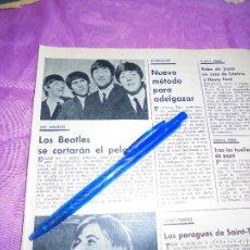 Coleccionismo de Revista Garbo: RECORTE PRENSA : LOS BEATLES SE CORTARAN EL PELO . GARBO, MAYO 1966. Lote 120043783