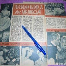 Coleccionismo de Revista Garbo: RECORTE PRENSA : POLEMICA EN VENECIA. SARA MONTIEL, ESPOSA DE ANTHONY MANN. GARBO, SPBRE 1958. Lote 120124759