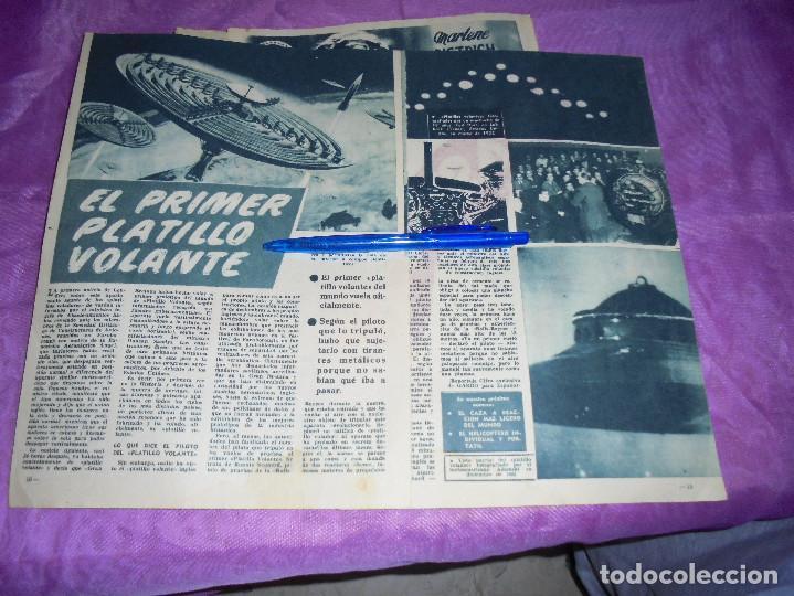 RECORTE PRENSA : EL PRIMER PLATILLO VOLANTE. GARBO, SPBRE 1954 (Coleccionismo - Revistas y Periódicos Modernos (a partir de 1.940) - Revista Garbo)