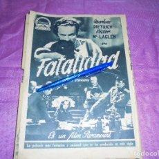 Coleccionismo de Revista Garbo: PUBLICIDAD DE LA PELICULA : FATALIDAD, MARLENE DIETRICH. GARBO, SPBRE 1954. Lote 120125175