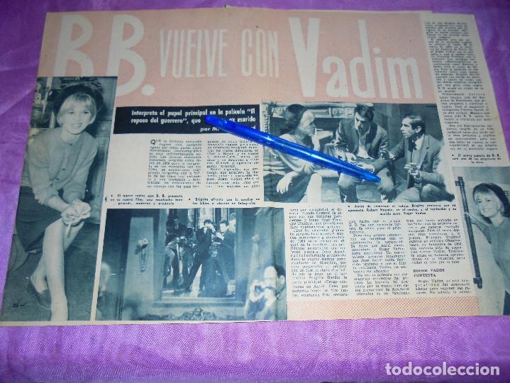 RECORTE PRENSA : BRIGITTE BARDOT VUELVE CON VADIM. GARBO, FEBRERO 1962 (Coleccionismo - Revistas y Periódicos Modernos (a partir de 1.940) - Revista Garbo)