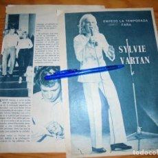 Coleccionismo de Revista Garbo: RECORTE PRENSA : EMPIEZA LA TEMPORADA PARA SYILVIE VARTAN. GARBO, AGOSTO 1965. Lote 120745839
