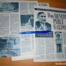 Coleccionismo de Revista Garbo: RECORTE PRENSA : HACE 41 AÑOS QUE MURIO EN MADRID BENITO PEREZ GALDOS. GARBO, ENERO 1962. Lote 131147384