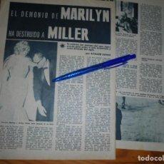 Colecionismo da Revista Garbo: RECORTE PRENSA : MARILYN MONROE Y ARTHUR MILLER. GARBO, ENERO 1961. Lote 133623798