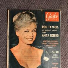 Coleccionismo de Revista Garbo: REVISTA. GARBO NO.478, ROD TAYLOR: UN MARIDO TÍMIDO PARA ANITA EKBERG (A.1962). Lote 151463992