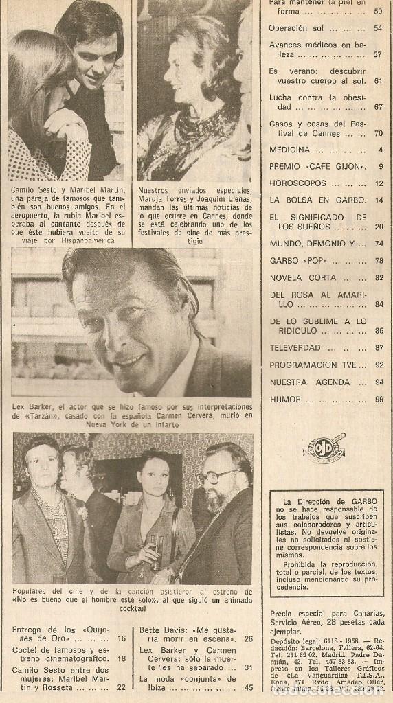Coleccionismo de Revista Garbo: GARBO nº 1047 Camilo Sesto Maribel Martín Lex Barker Carmen Cervera Bette Davis Rosemarie Dexter - Foto 2 - 209340743