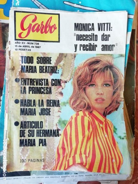 REVISTA GARBO: Nº 736, 15-04-1967: ACCIDENTE BEATRIZ DE SABOYA CON UNA PISTOLA. JOYAS CORONA SUECA. (Coleccionismo - Revistas y Periódicos Modernos (a partir de 1.940) - Revista Garbo)