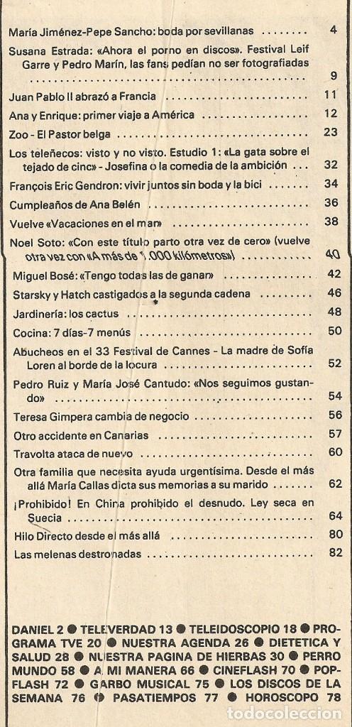 Coleccionismo de Revista Garbo: Revista Garbo nº 1415 Maria jimenez Pepe Sancho Miguel Bose Vacaciones en el Mar Maria Jose Cantudo - Foto 5 - 209943585