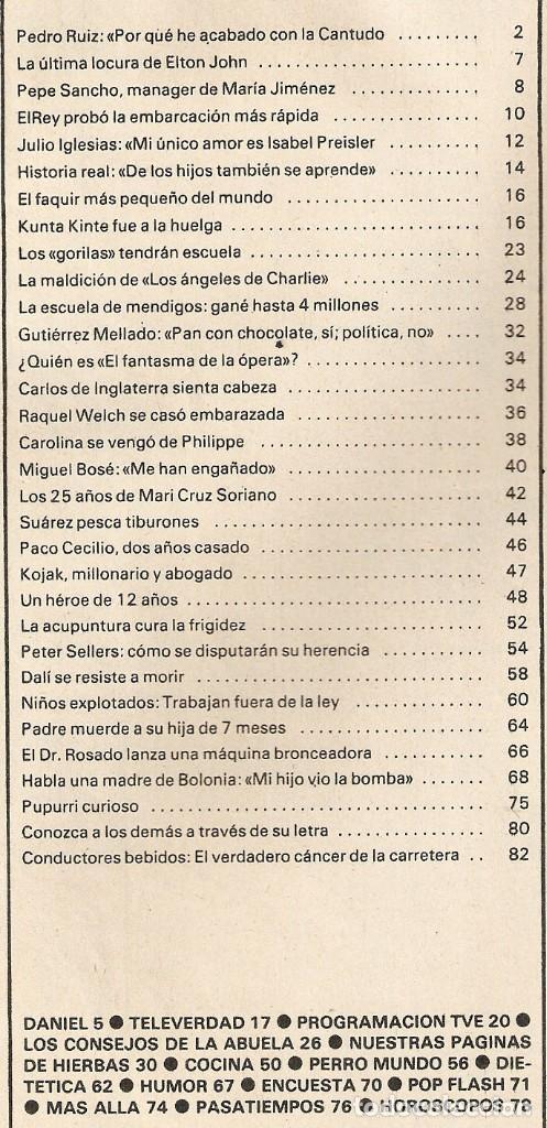 Coleccionismo de Revista Garbo: Revista GARBO 1426 Mari Cruz Soriano Iván Elton John Miguel Bosé Salvador Dalí Raquel Welch Cantudo - Foto 2 - 170284992