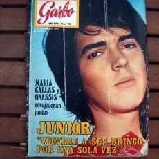 Coleccionismo de Revista Garbo: GARBO / NINO BRAVO, LOS CANARIOS, ANTONIO BIENVENIDA, SALON DEL AUTOMOVIL, LLUIS LLACH, JUNIOR. Lote 176388065