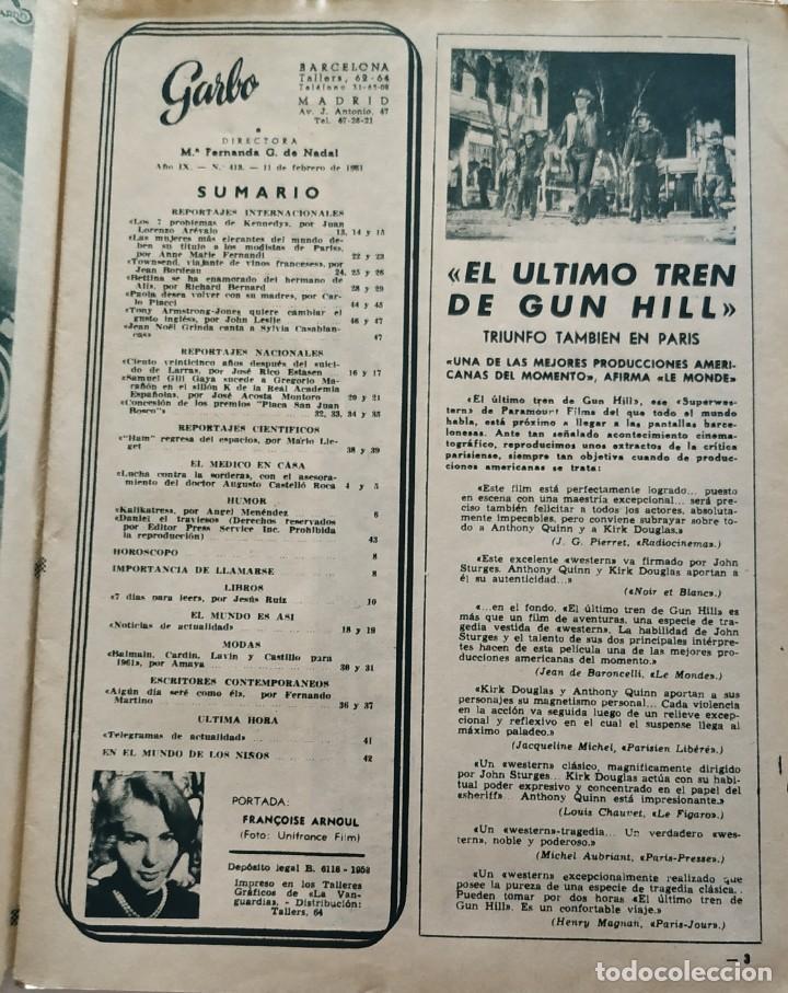 Coleccionismo de Revista Garbo: Revista GARBO nº 413 (1961) Françoise Arnoul Keneddy Audrey Hepburn Sofia Loren Grace Kelly VINTAGE - Foto 3 - 192505923