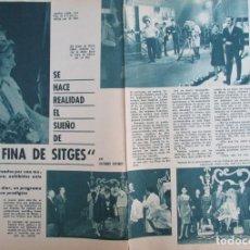Coleccionismo de Revista Garbo: RECORTE REVISTA GARBO Nº 605 1964 REINA POR UN DIA. JOSEFINA LANAU. LA FINA DE SITGES. Lote 218746246