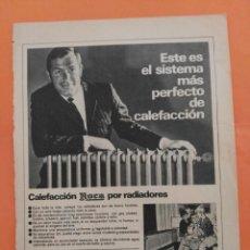 Coleccionismo de Revista Garbo: ANUNCIO PUBLICIDAD AÑO 1965 CALEFACCIÓN ROCA POR RADIADORES. Lote 205475016