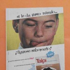 Coleccionismo de Revista Garbo: ANUNCIO PUBLICIDAD AÑO 1965 POSTRES TAIPI GALLINA BLANCA. Lote 205475115
