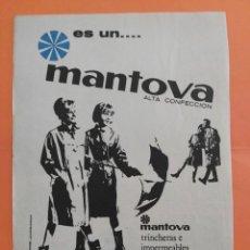Coleccionismo de Revista Garbo: ANUNCIO PUBLICIDAD AÑO 1965 CONFECCIÓN NYLON Y TERGAL MANTOVA. Lote 205475305