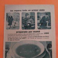 Coleccionismo de Revista Garbo: ANUNCIO PUBLICIDAD AÑO 1965 ALIMENTACIÓN SOPAS LIEBIG RIERA MARSA. Lote 205476250