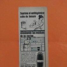 Coleccionismo de Revista Garbo: ANUNCIO PUBLICIDAD AÑO 1965 TRITURADOR TURBEX ROCA. Lote 205502982