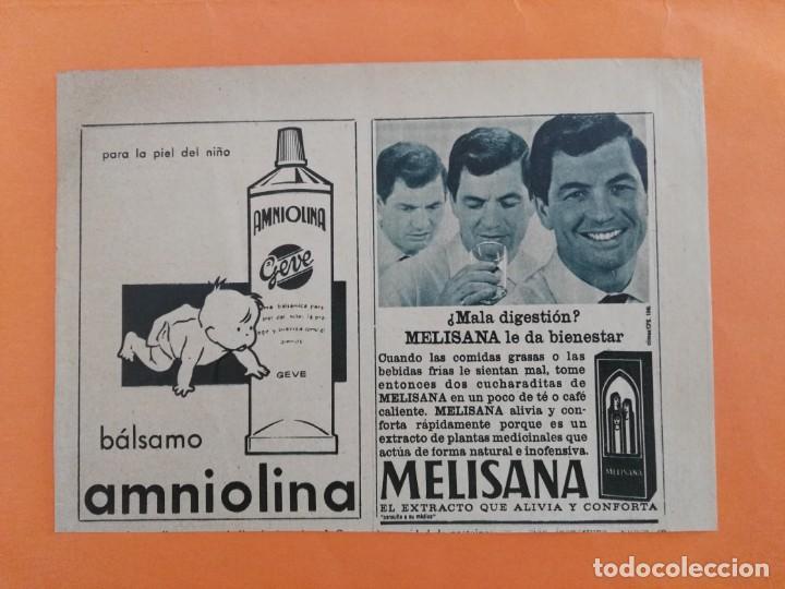 ANUNCIO PUBLICIDAD AÑO 1965 COSMÉTICA PERFUMERÍA AMNIOLINA Y MELISANA (Coleccionismo - Revistas y Periódicos Modernos (a partir de 1.940) - Revista Garbo)