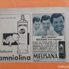 Coleccionismo de Revista Garbo: ANUNCIO PUBLICIDAD AÑO 1965 COSMÉTICA PERFUMERÍA AMNIOLINA Y MELISANA. Lote 205509186