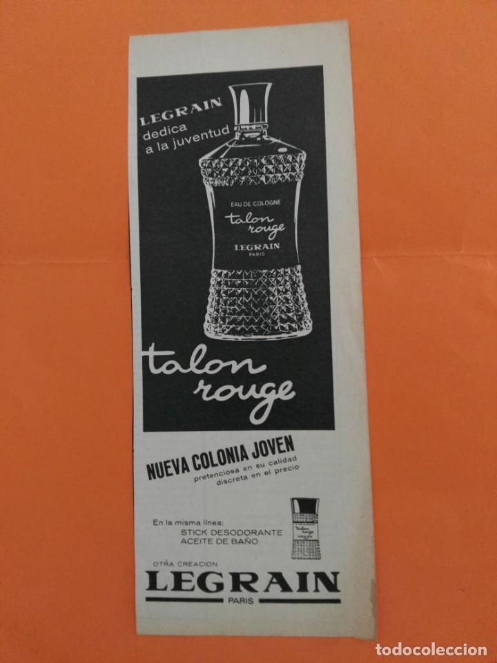 ANUNCIO PUBLICIDAD AÑO 1965 COSMÉTICA PERFUMERÍA TALÓN ROUGE LEGRAIN (Coleccionismo - Revistas y Periódicos Modernos (a partir de 1.940) - Revista Garbo)