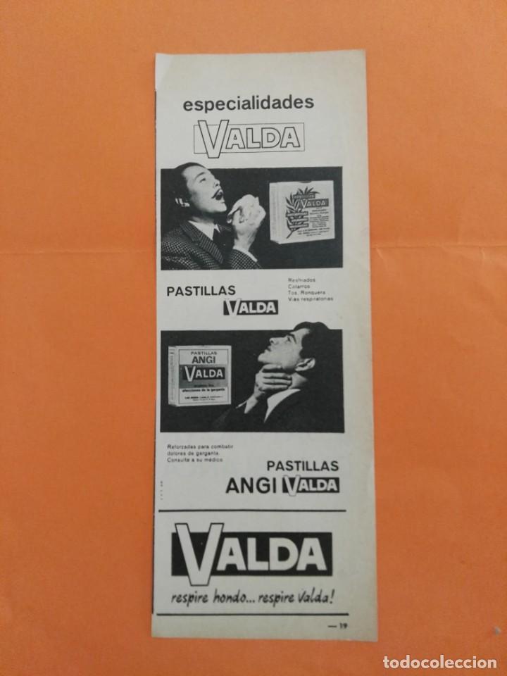 ANUNCIO PUBLICIDAD AÑO 1965 FARMACIA PASTILLAS VALDA (Coleccionismo - Revistas y Periódicos Modernos (a partir de 1.940) - Revista Garbo)