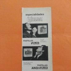 Coleccionismo de Revista Garbo: ANUNCIO PUBLICIDAD AÑO 1965 FARMACIA PASTILLAS VALDA. Lote 205509588