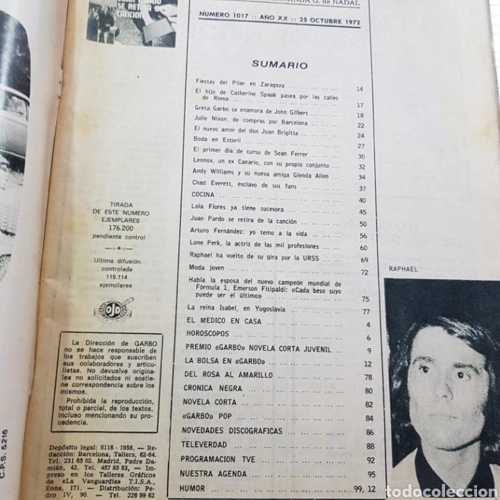 Coleccionismo de Revista Garbo: GARBO N° 1017 NOVIEMBRE 1972 JUAN PARDO - ROSARIO FLORES - SALON DEL AUTOMOVIL ... - Foto 2 - 217935190