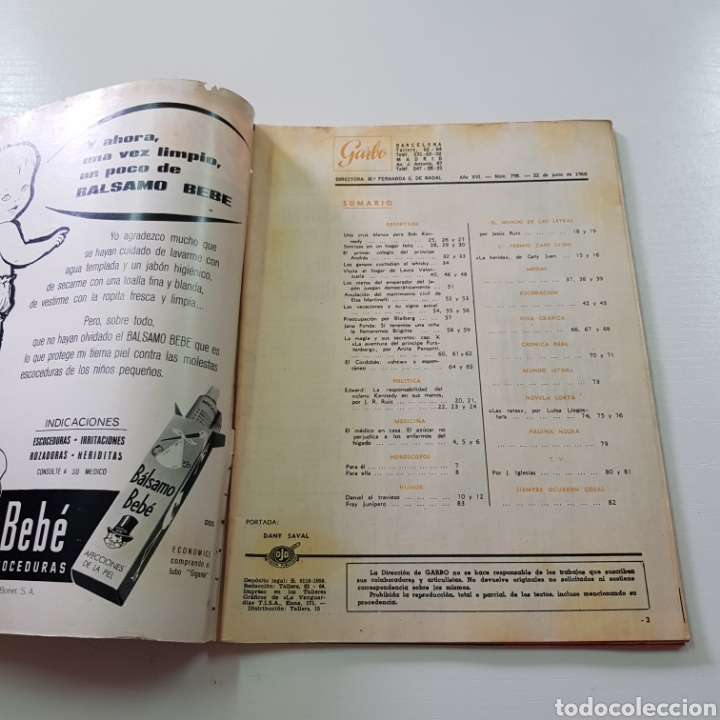 Coleccionismo de Revista Garbo: GARBO N° 798 JUNIO 1968 BOB KENNEDY - EL CORDOBÉS - LAURA VALENZUELA ... - Foto 2 - 217974102