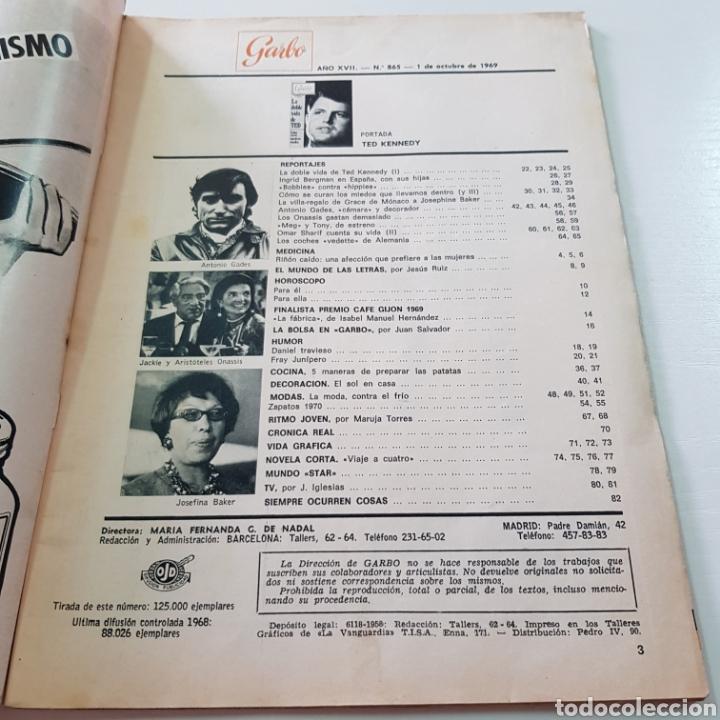 Coleccionismo de Revista Garbo: GARBO N° 865 OCTUBRE 1969 TED KENNEDY ANTONIO GADES OMAR SHARIFF - Foto 2 - 217980962