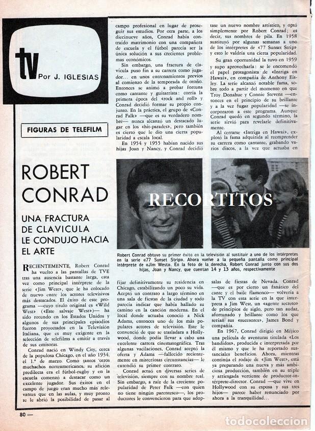 SCANS ROBERT CONRAD (Coleccionismo - Revistas y Periódicos Modernos (a partir de 1.940) - Revista Garbo)