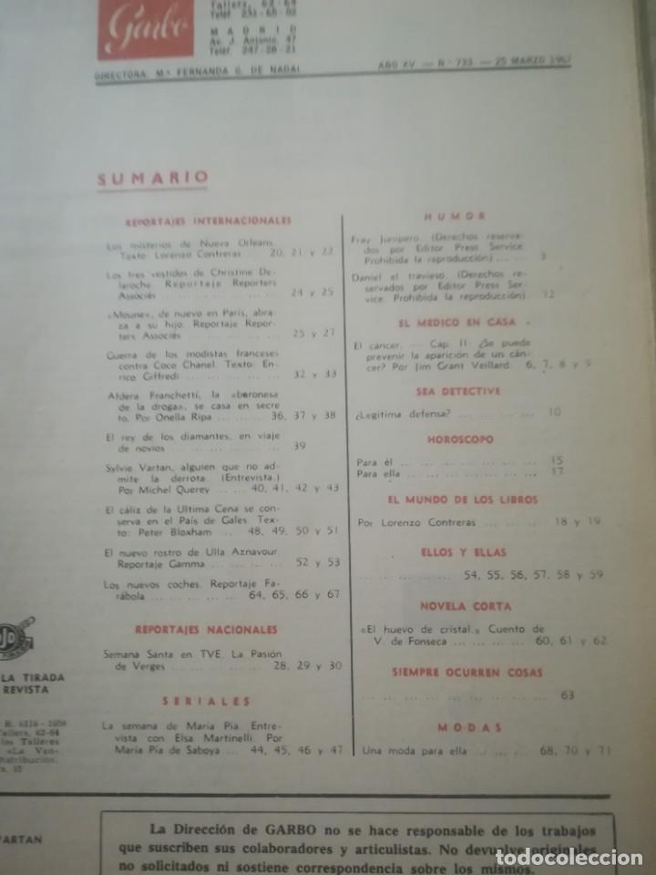 Coleccionismo de Revista Garbo: Garbo Nº 733 - Foto 3 - 222357327