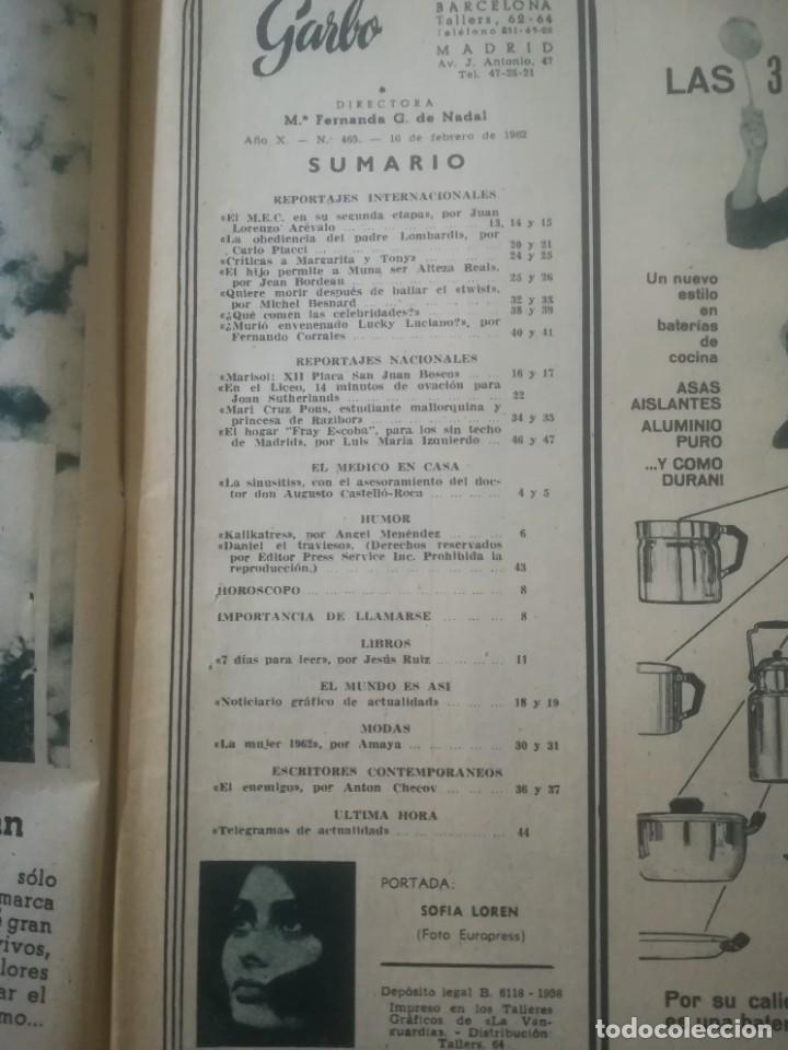 Coleccionismo de Revista Garbo: Garbo Nº 465 - Sofía Loren en portada - Foto 3 - 222363803