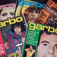 Coleccionismo de Revista Garbo: LOTE 5 REVISTAS GARBO AÑOS 70 JULIO IGLESIAS ROCÍO DÚRCAL SERRAT MARISOL ÉSTER SANTANA ROSA MORENA B. Lote 276949863