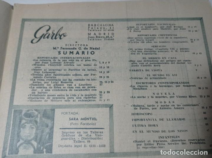 Coleccionismo de Revista Garbo: Revista garbo 287 año 1958 en portada Sara Montiel, Winston churchill - Foto 3 - 284592068