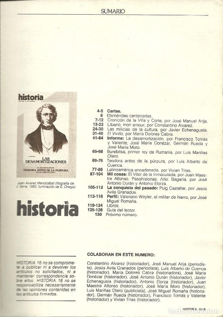 Coleccionismo de Revista Historia 16: HISTORIA 16. Nº 84. ABRIL 1983. Las desamortizaciones. Weyler, militar de hierro. Teodora antes de l - Foto 2 - 72153295