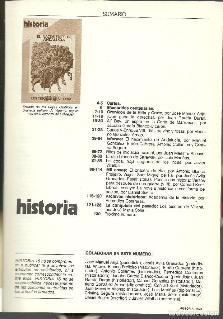Coleccionismo de Revista Historia 16: HISTORIA 16. Nº 73 MAYO 1982. EL NACIMIENTO DE ANDALUCÍA. AVENTURAS DE ALI BEY. VILLENA - Foto 2 - 72676823