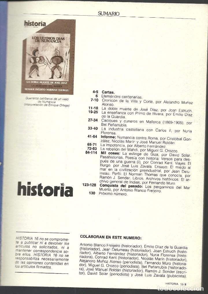 Coleccionismo de Revista Historia 16: HISTORIA 16. Nº 71 MARZO 1982. ÚLTIMOS DÍAS DE NUMANCIA. DOBLE MUERTE DE JOSE DIAZ - Foto 2 - 72683159