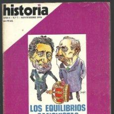 Coleccionismo de Revista Historia 16: HISTORIA 16. Nº 7 NOVIEMBRE 1976. EQUILIBRIOS CANOVISTAS. REVOLUCIÓN SOVIÉTICA... Lote 72684731
