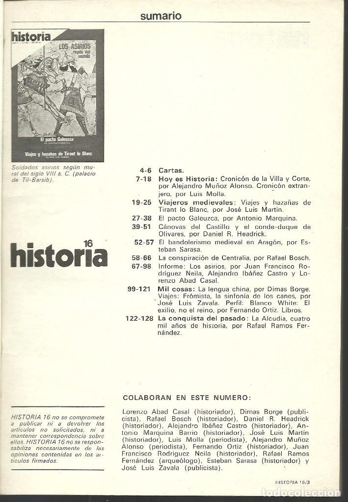 Coleccionismo de Revista Historia 16: HISTORIA 16. Nº 46 FEBRERO 1980. LOS ASIRIOS. PACTO GALEUZCA. CÁNOVAS Y LA SOMBRA DE OLIVARES - Foto 2 - 72685659