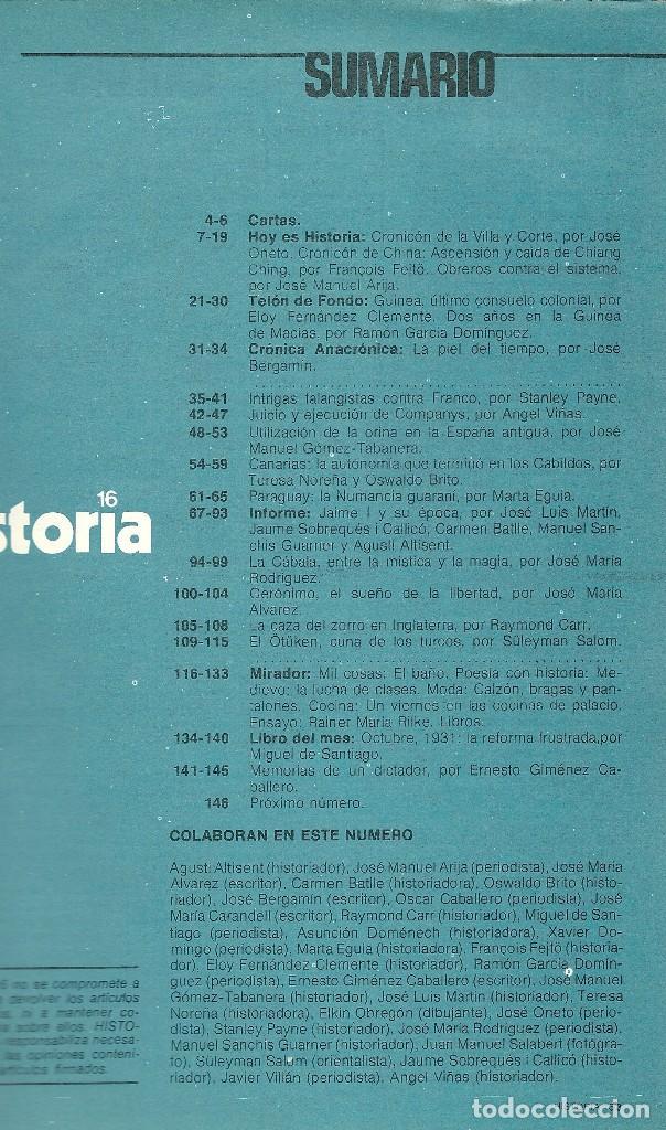 Coleccionismo de Revista Historia 16: HISTORIA 16. Nº 8 DICIEMBRE 1976. INTRIGAS FALANGISTAS CONTRA FRANCO. EJECUCIÓN DE COMPANYS - Foto 2 - 72691887