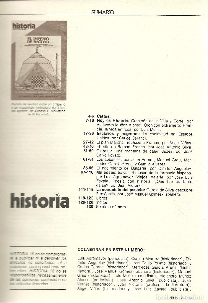 Coleccionismo de Revista Historia 16: HISTORIA 16. Nº 64 AGOSTO 1981. IMPERIO DE BAGDAD. EL PLAN MARSHALL RECHAZÓ A FRANCO. - Foto 2 - 72695495