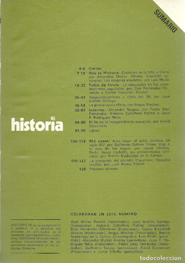 Coleccionismo de Revista Historia 16: HISTORIA 16. Nº 34 FEBRERO 1979. ALEJANDRO MAGNO. CHINCHERO, VERSALLES INCAICO. - Foto 2 - 72717079