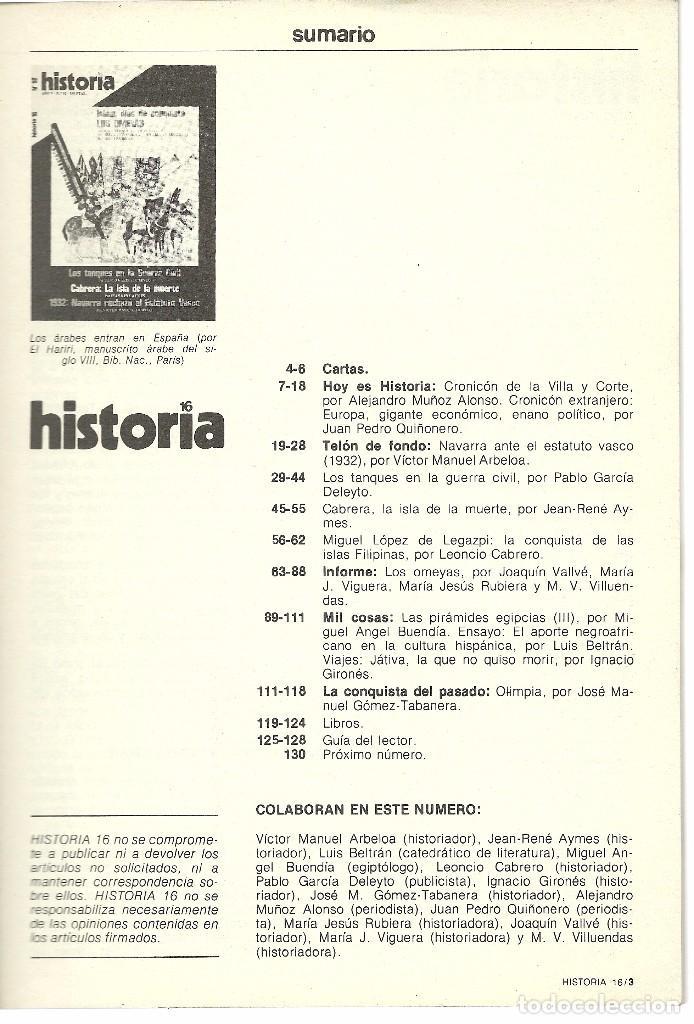Coleccionismo de Revista Historia 16: HISTORIA 16 Nª 52. AGOSTO 1980. LOS OMEYAS. TANQUES EN LA GUERRA CIVIL. CABRERA: ISLA DE LA MUERTE - Foto 2 - 72719483