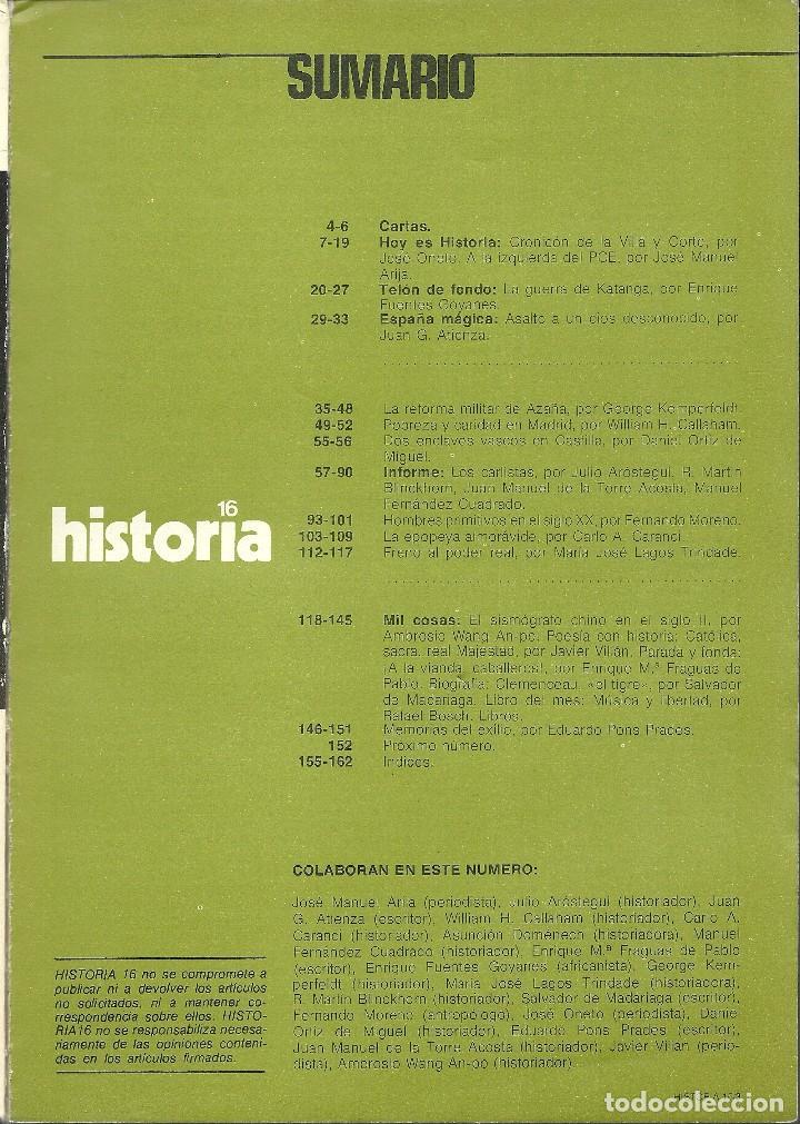 Coleccionismo de Revista Historia 16: HISTORIA 16 Nª 13 MAYO 1977. LOS CARLISTAS. LA REFORMA AZAÑA. CLEMENCEAU. LA IZQUIERDA DEL PCE. - Foto 2 - 72811615